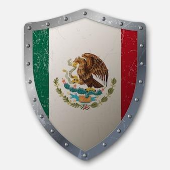 メキシコの国旗と古い盾
