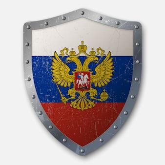 Старый щит с флагом россии