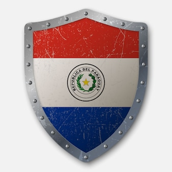 Old shield with flag of paraguay