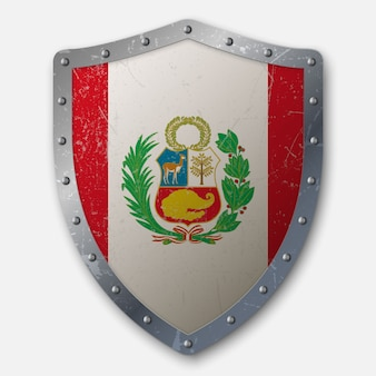Old shield with flag of peru