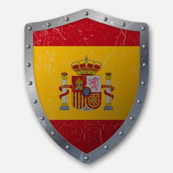 Old shield with flag of spain