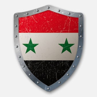 Old shield with flag of syria