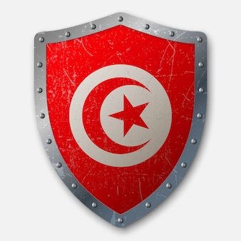 Old shield with flag of tunisia