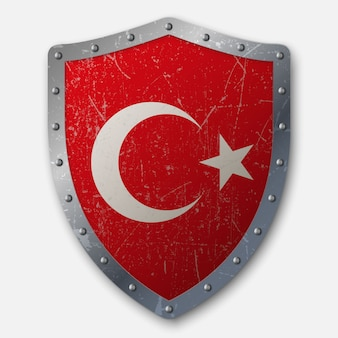 Old shield with flag of turkey