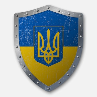 Old shield with flag of ukraine