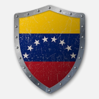 Old shield with flag of venezuela