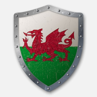 Old shield with flag of wales