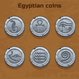 Old silver egyptian coins, game element