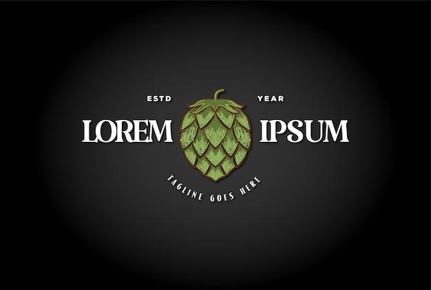 공예 맥주, 양조 또는 양조장 레이블 로고 디자인 벡터를 위한 오래 된 간단한 녹색 홉