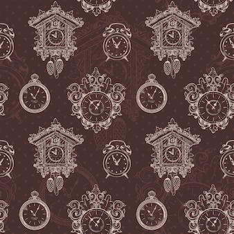 Old sketch vintage clock and watches on brown seamless pattern vector illustration