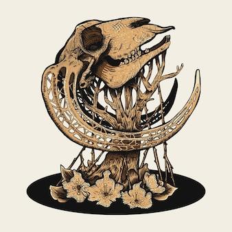 Old skull on tree illustration