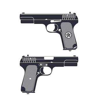 Старый советский пистолет, пистолет второй мировой войны, изолированные на белом, векторные иллюстрации