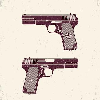 Old soviet pistol, world war 2 handgun with grunge texture