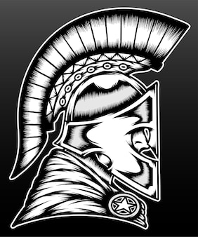 Old spartan warrior isolated on black