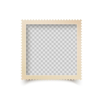 Old square photo frame with ornamental edge. retro photo blank with shadow isolated.