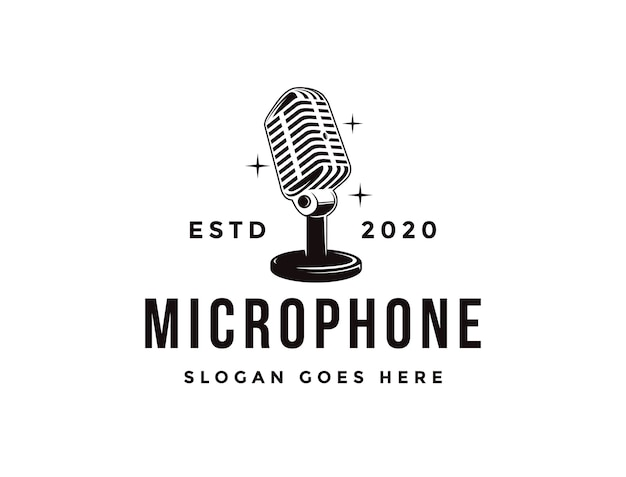 Old stand microphone logo, podcasting logo icon template