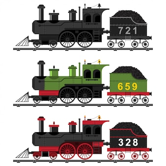 오래 된 증기 엔진 기차 평면 세트 흰색 배경에 고립 된 레일에 석탄 철도 기관차의 만화 그림.