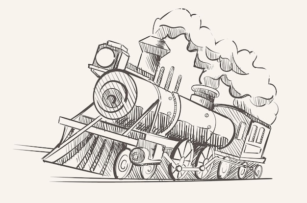 Old steam locomotive, an industrial age train