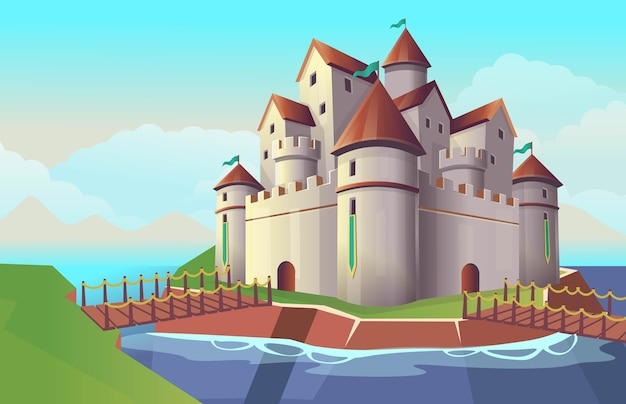 Old stone cartoon castle with bridges and river for children's.  illustration