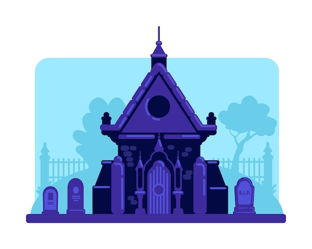 Old stone vault in cemetery flat color illustration