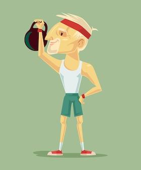 Старый сильный дедушка тренирует упражнения на плоской иллюстрации