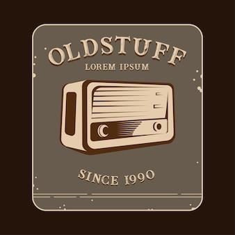 Old stuff logo with radio illustration