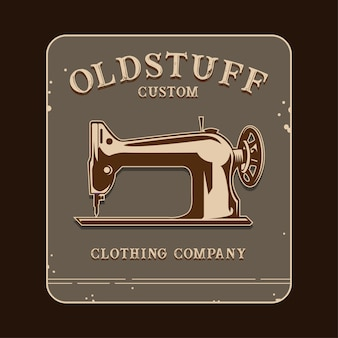 Old stuff logo with sewing machine illustration