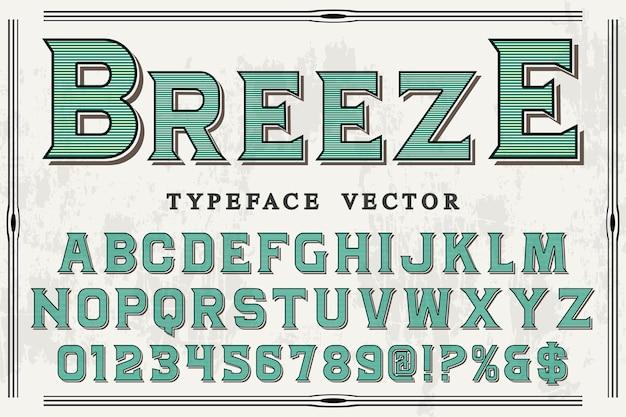 Old style alphabet label design breeze