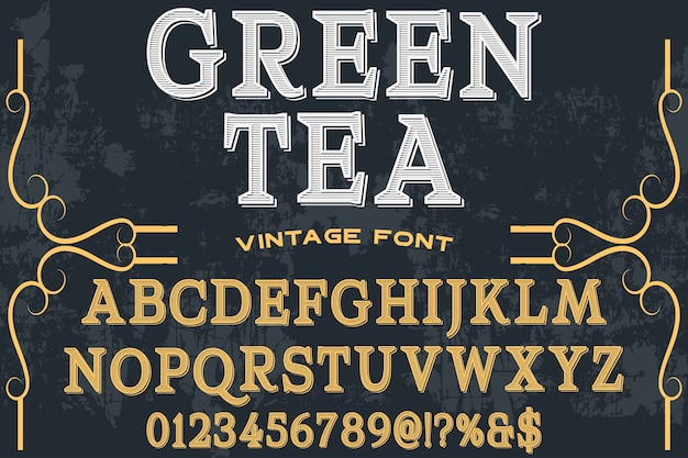 Old style alphabet label design green tea
