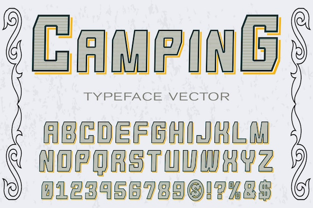 Old style font label design camping