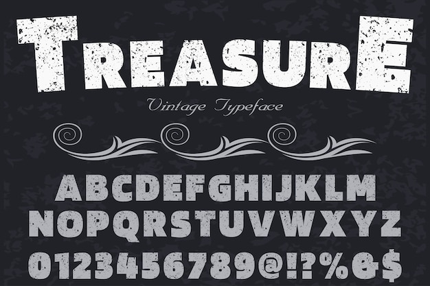 Old style font label design treasure