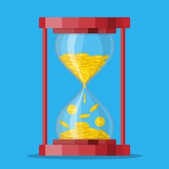 Часы песочные часы старого стиля с долларом