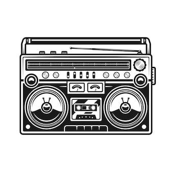 오래 된 스타일의 음악 붐 박스 또는 카세트 레코드 플레이어 벡터 검은 그림 흰색 배경에 고립