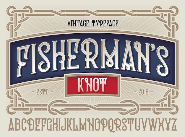 Old style typeface fisherman's knot with decorative ornament frame