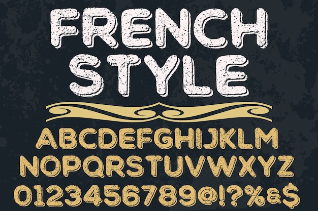 Old style typeface label design french style