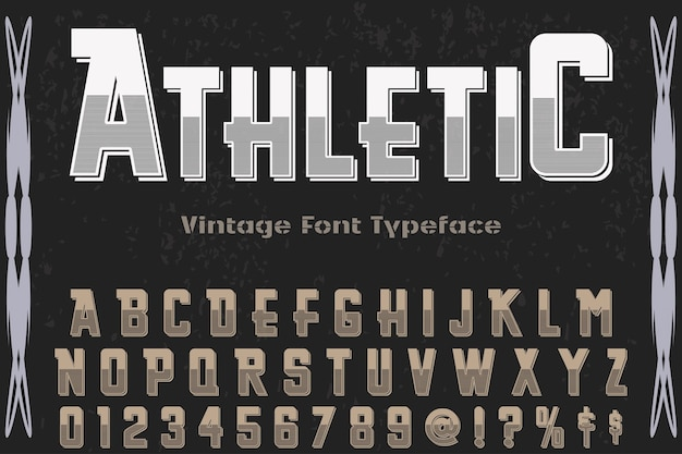 Old style typography label design athletic
