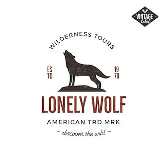Old style wilderness label with wolf and typography elements.