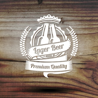 Old styled beer label for your beer business, shop, restaurant etc. on old wooden texture.
