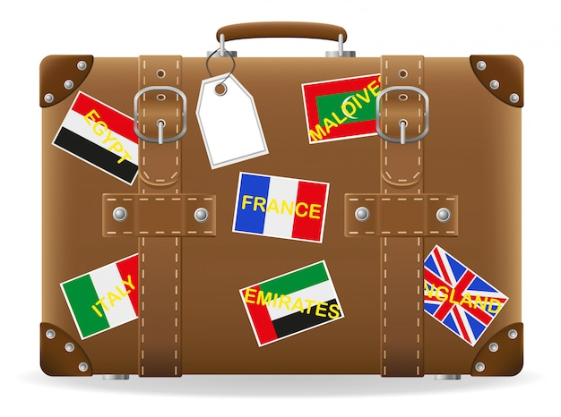 Old suitcase with stickers for travel vector illustration