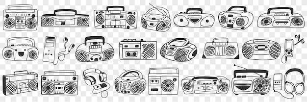 오래 된 테이프 레코더 낙서 세트