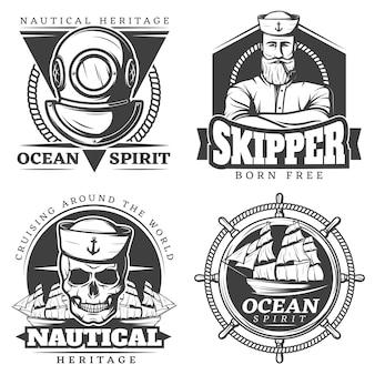 Vecchio tatuaggio marinaio set di etichette navali