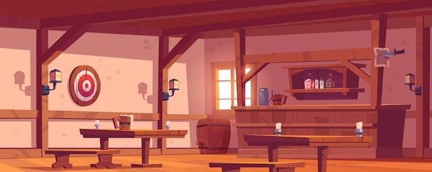 古い居酒屋、木製のバーカウンターのあるヴィンテージのパブ、ボトル、ランタン、テーブルの上のビールジョッキのある棚。壁にバレルとダーツのターゲットとレトロなサルーンのベクトル漫画空のインテリア