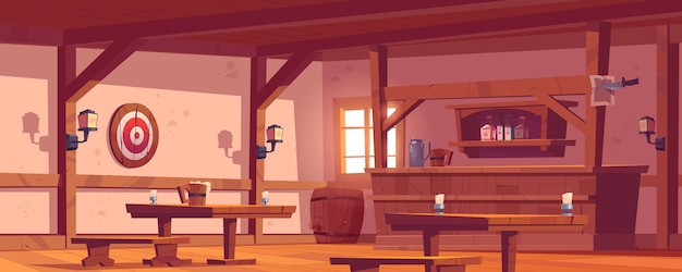 Old tavern, vintage pub with wooden bar counter, shelf with bottles, lanterns and beer mug on table. vector cartoon empty interior of retro saloon with barrel and darts target on wall