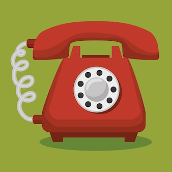 Old telephone isolated icon
