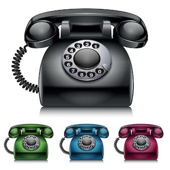 Старые телефоны винтажном стиле векторные иллюстрации