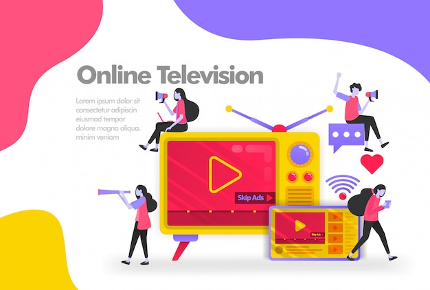 Old television with tablets and videos banner