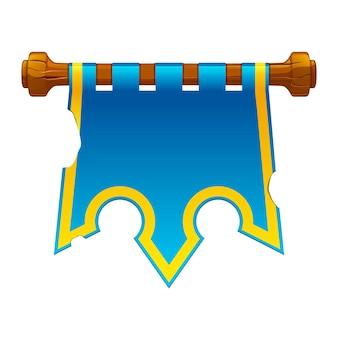 Старый порванный синий флаг для игры. векторная иллюстрация старого знамени короны висит.