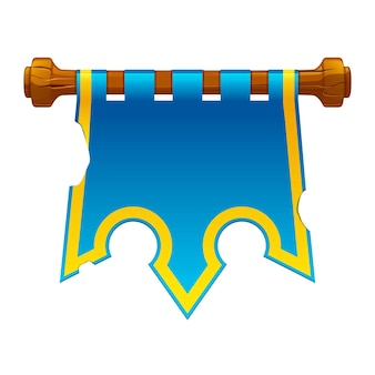Old torn blue flag for the game. vector illustration of an old banner crown hanging.