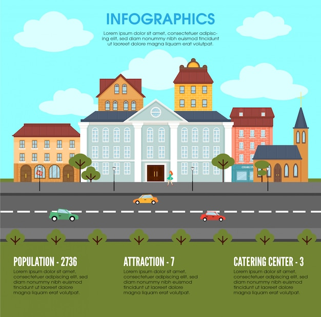 Старый город элементы ландшафта инфографики концепции