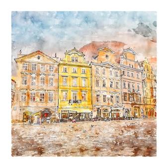 올드 타운 광장 체코 공화국 수채화 스케치 손으로 그린 그림